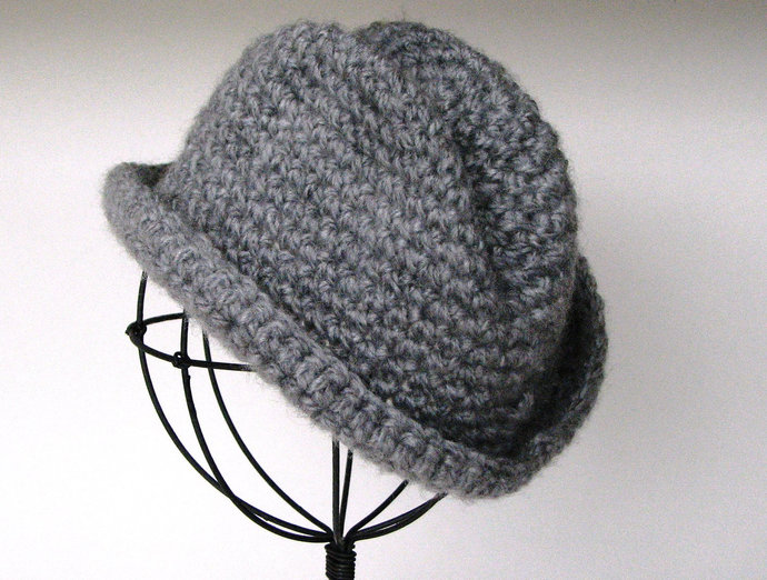 Crocheted Baby Fedora Hat- Handmade Fedora Hat- Newborn Boy Photo Prop- Crochet