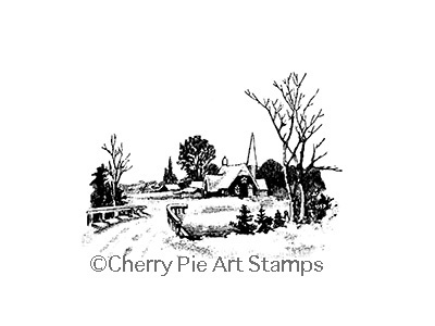 WiNTERSCAPE with CHuRCH -  CLiNG Rubber STAMP by Cherry Pie Art Stamps L362