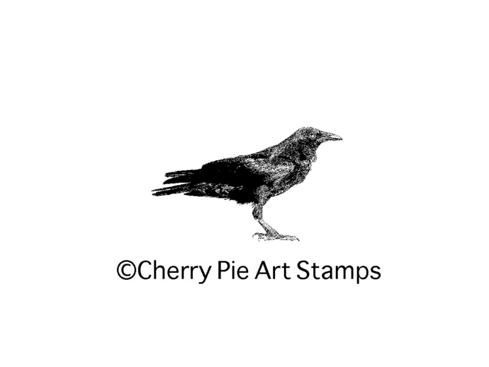 Small CROW, raven silhouette- CLiNG rubber STAMP D149
