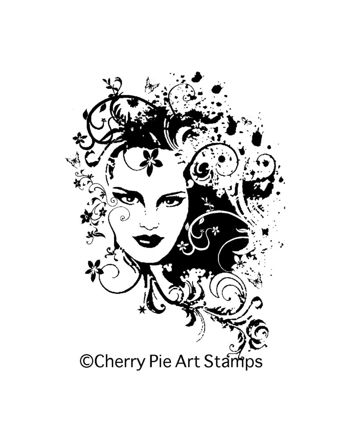 Beauty Muse - CLiNG RuBBer STAMP for acrylic block Q492