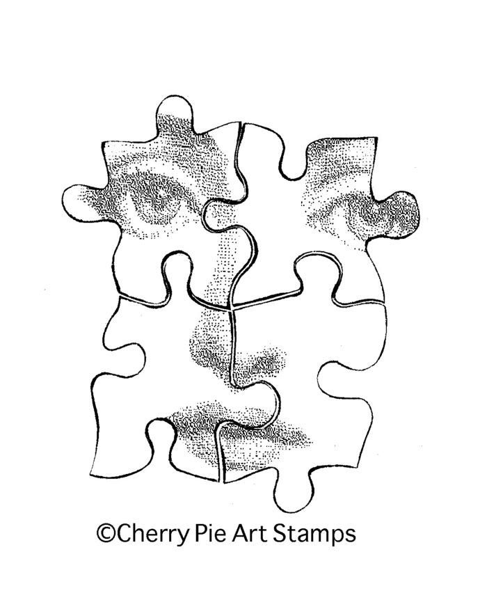 Puzzle pieces woman face -CLiNG RUBBER STAMP by Cherry Pie Art Stamps R524