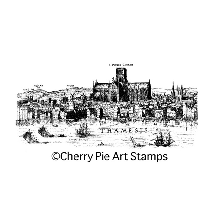 Old London map- CLING RuBBer STAMP for acrylic block by Cherry Pie Art Stamps