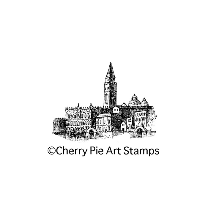 Venice palaces, VENEZIA ITALY-  CLING rubber stamp by Cherry Pie Art Stamps G231