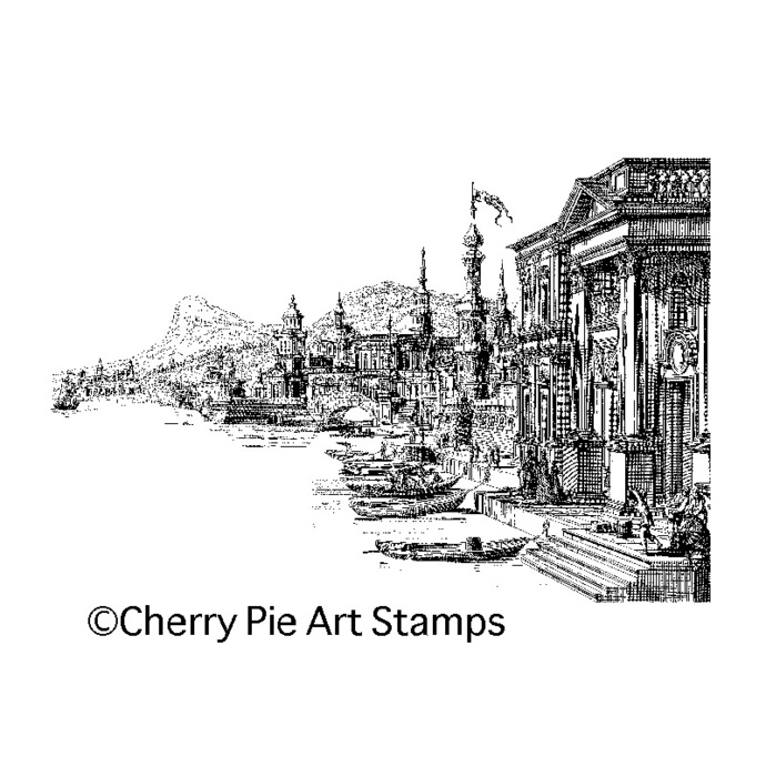 Old Venice, VENEZIA ITALY-  CLING rubber stamp by Cherry Pie Art Stamps R518