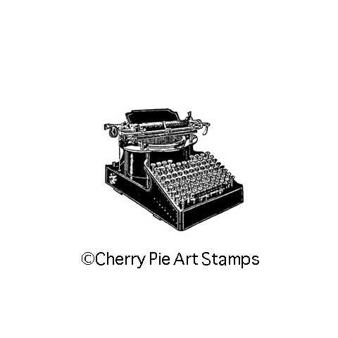 Vintage old TYPEWRITER- CLING STAMP for acrylic block by Cherry Pie G257