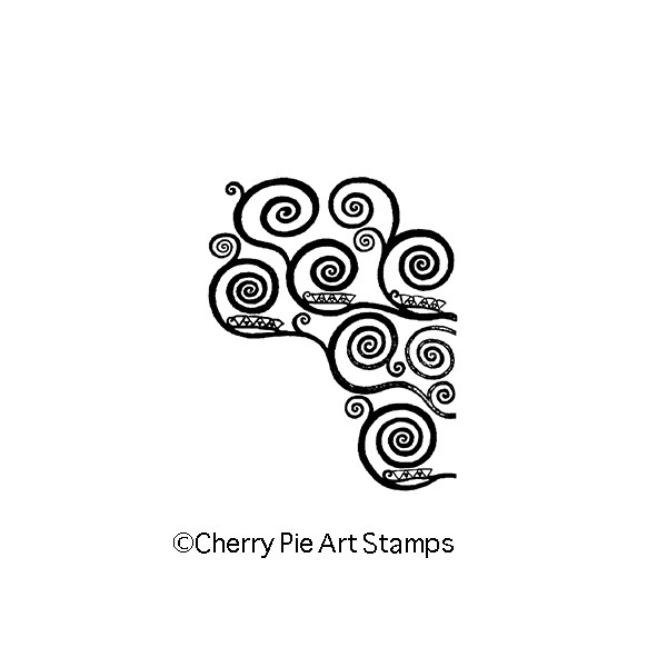 Spirals by Gustav KLIMT - small size- CLiNG RuBBer STAMP by Cherry Pie L333