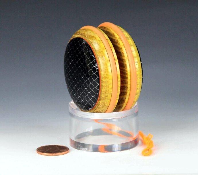 Handmade YoYo, Fixed Axle Imperial - Osage Orange with Honeycomb Mesh Acrylic