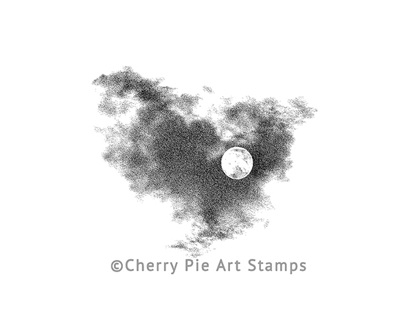 Full MOON and clouds- CLING RuBBer STAMP by Cherry Pie Q519