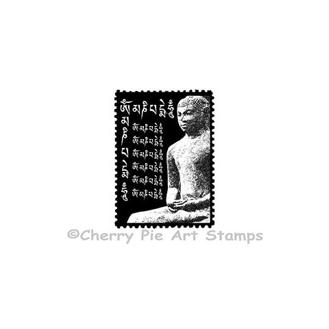 BUDDHA Postoid- mail art - CLING rubber STAmP for acrylic block by Cherry Pie