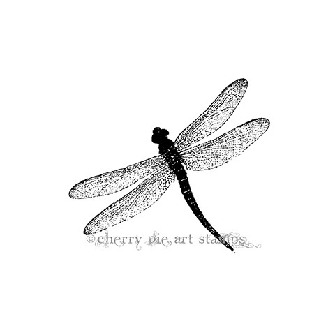DRAGONFLY - CLiNG Rubber STAMP for acrylic block by Cherry Pie L346