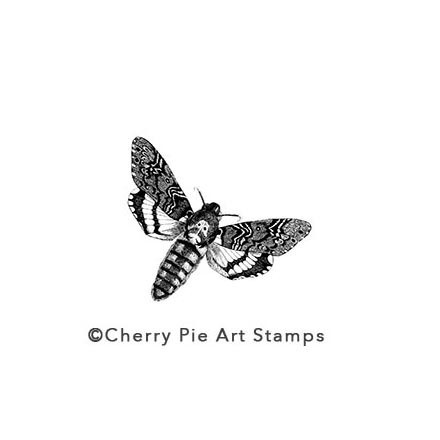 MOTH - CLiNG Rubber STAMP for acrylic block by Cherry Pie E203
