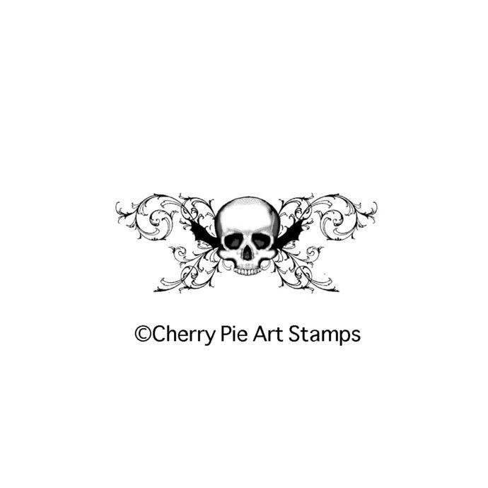 SKULL flourishes - goth, dark, tattoo style art- CLING STAMP by Cherry Pie P414