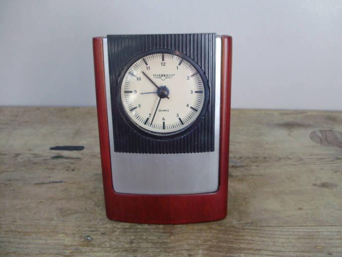 Vintage Marksman quartz clock,table/alarm clock,1970's