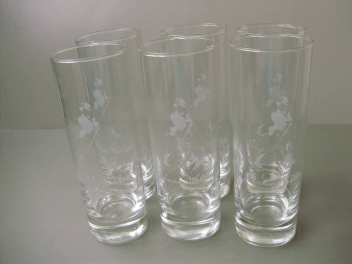 Unused, drinking set,Johny Walker glasses,6 pieces,Keep walking