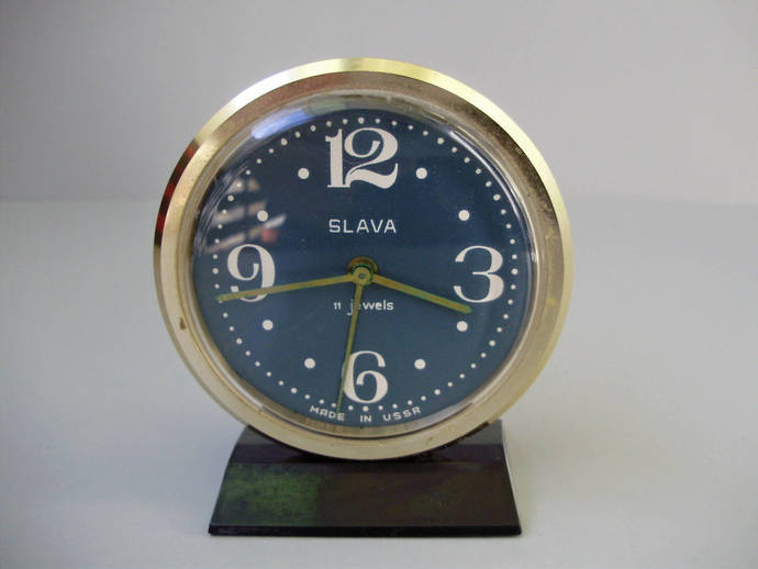Vintage, golden and blue coloured ,Russian Slava Table/Alarm Clock,11
