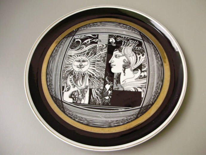 Vintage Hollohaza porcelain decor plate, wall plate Art Nouveau black& white