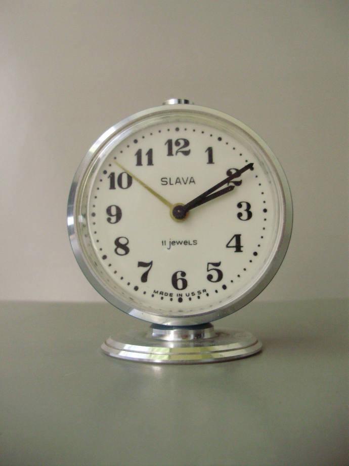 Vintage, Blue,Russian Slava Table/Alarm Clock,working condition
