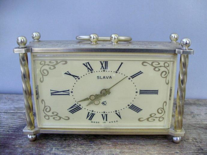 Vintage,Soviet Russian Slava  Table/Mantel /Alarm Clock,working condition