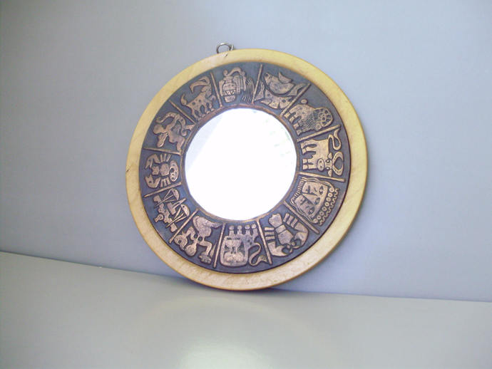 Vintage Zodiac  mirror/wall mirror in wood and copper frame with Astrological