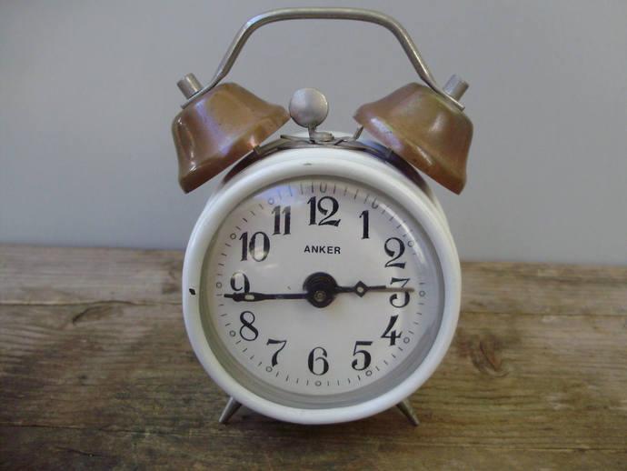 Vintage, white ,Anker Table/Alarm Clock,winding clock,German Mid Century Modern