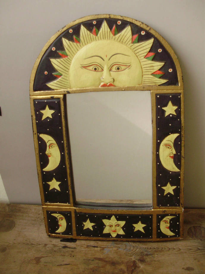 Vintage mirror/wall mirror in wood  frame with Astrological signs