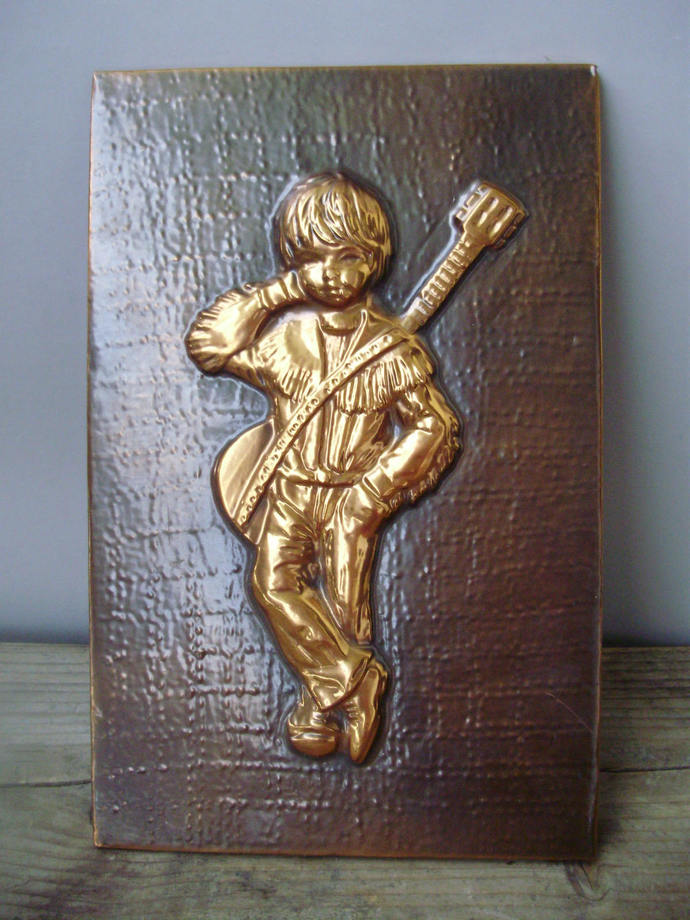 Vintage Copper alloy wall decor,relief,little boy,country singer,home