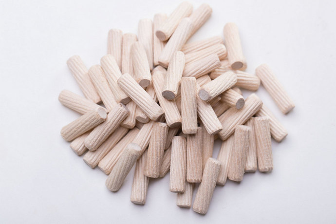 200Pcs Wooden Dowels Pins M8 x 35mm Furniture Hardware Inclined line Round