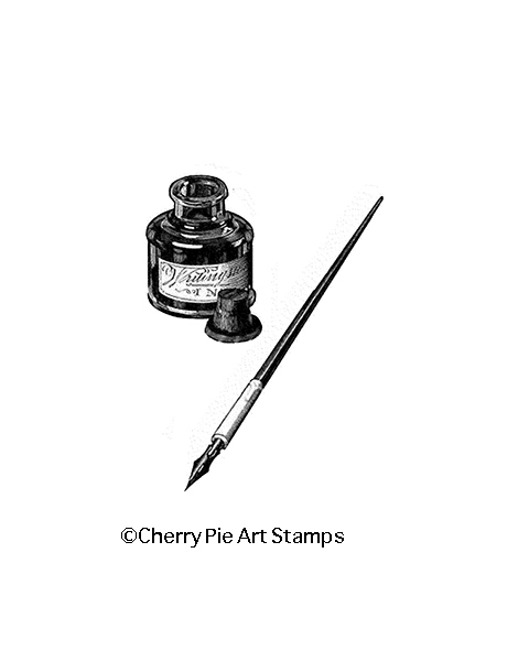 INK BOTTLE and PEN- Cling Rubber Stamp by Cherry Pie Q474