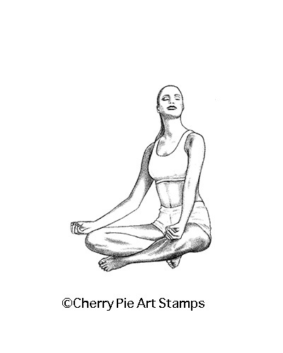 MEDITATION- yoga woman- CLiNG RuBBer STAMP by Cherry Pie Q496