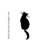 BLACK CAT silhouette- CLING STaMP for acrylic block by Cherry Pie E212