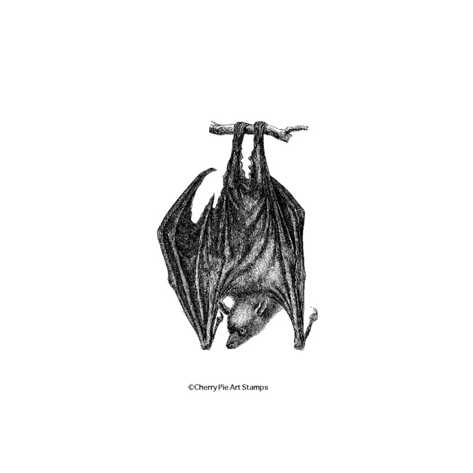 HANGING BAT-  CLiNG RuBBer STaMP for acrylic block by Cherry Pie G268