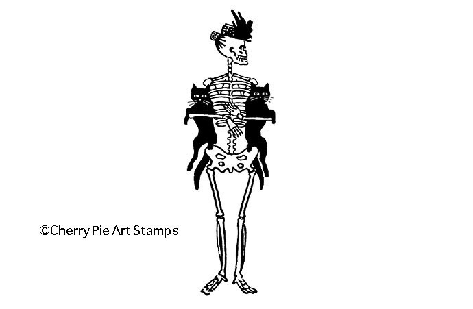 SKELETON with CATS- CLiNG RuBBer STaMP by Cherry Pie  Q535