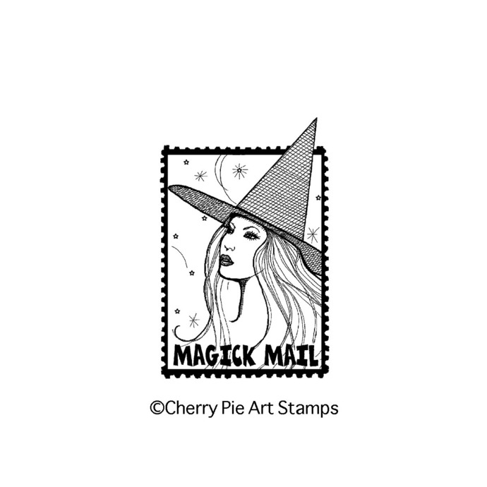 Magick WITCH MAIL postoid- CLiNG Rubber STAMP by Cherry Pie L325