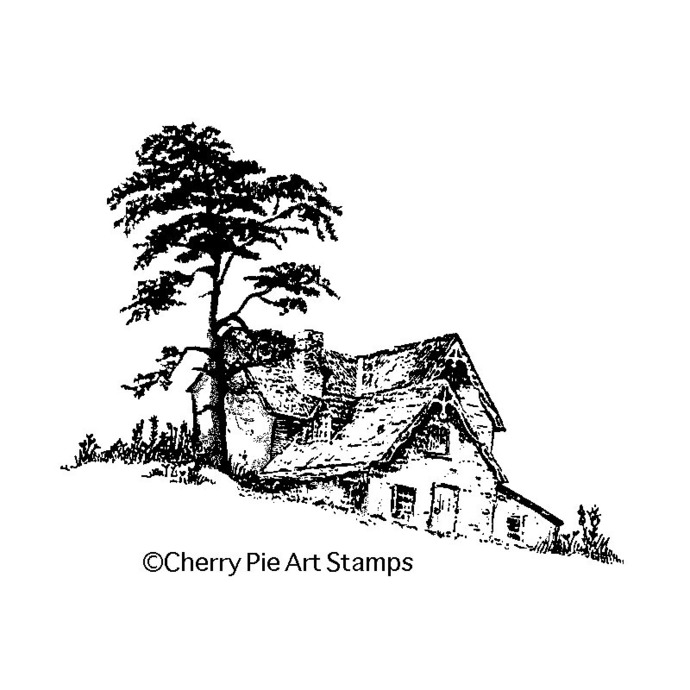 Country home house- CLING STAMP for Acrylic Block by Cherry Pie Q455