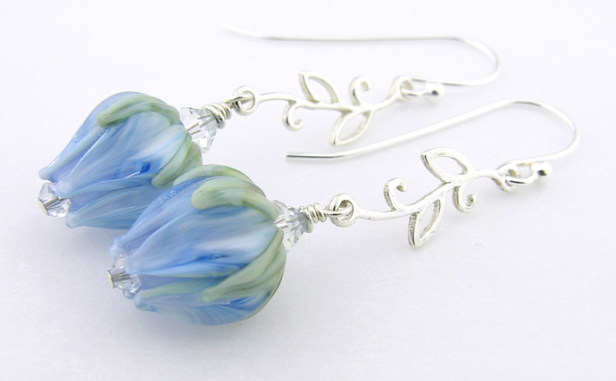 Not the Blues Earrings - blue rose, artisan lampwork, sterling silver, dangle,
