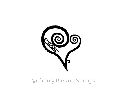 Klimt style HEART - CLinG RUBBER STAMP by Cherry Pie G270