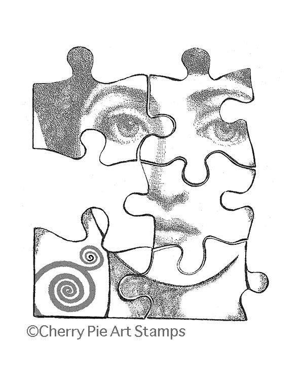 Puzzle pieces woman face -CLiNG RUBBER STAMP by Cherry Pie Art Stamps R529