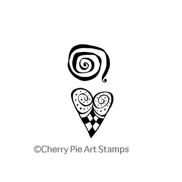 Heart and Swirl (set of 2)- CLiNG Rubber STAMPs by Cherry Pie J290