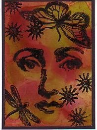 """Woman face features 1""""x1"""" CLING RuBBer STAMP by Cherry Pie C106"""