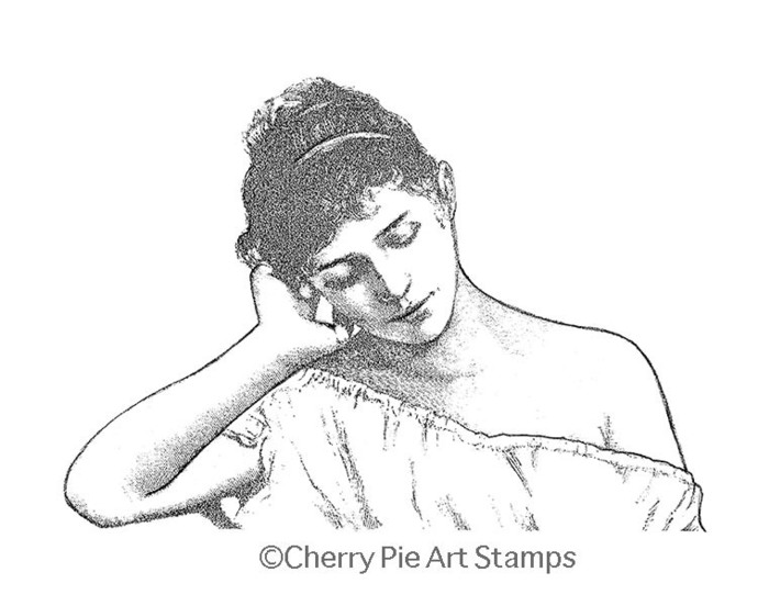 Daydreaming woman - CLING rubber STAMP for acrylic block by Cherry Pie R555