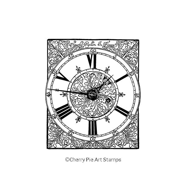 Precious antique Italian CLOCK- CLING RuBBer STAMP  by Cherry Pie Q452