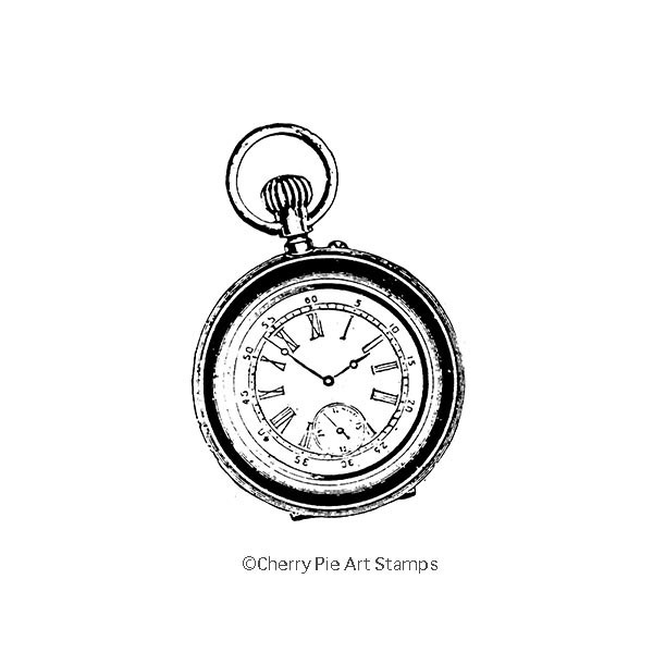 Pocket watch- CLING RuBBer STAMP  by Cherry Pie L319