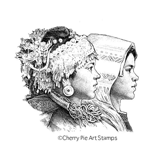 Asian girls- CLiNG RuBBer STaMP by Cherry Pie R506