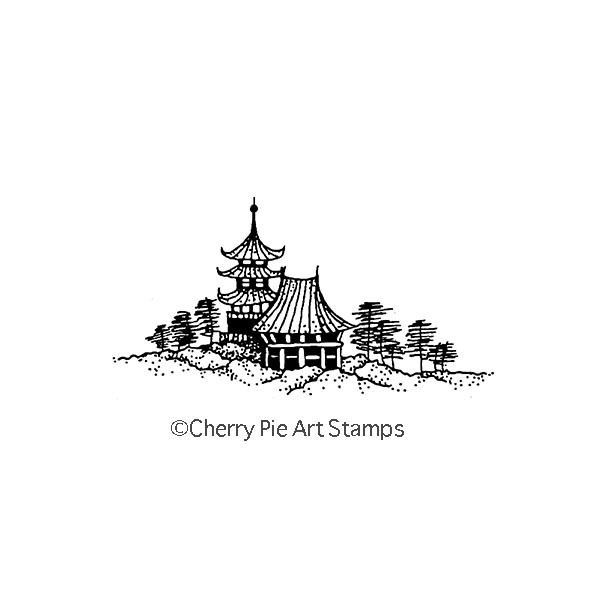 Asian landscape- CLING RuBBer STAMP  by Cherry Pie G263