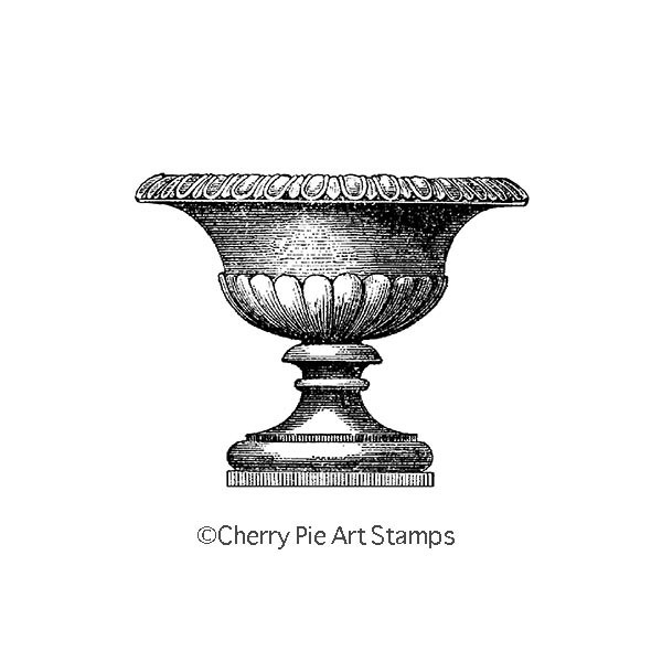 Urn, Vase, Vessel  -  CLING RuBBer STAMP  by Cherry Pie P418