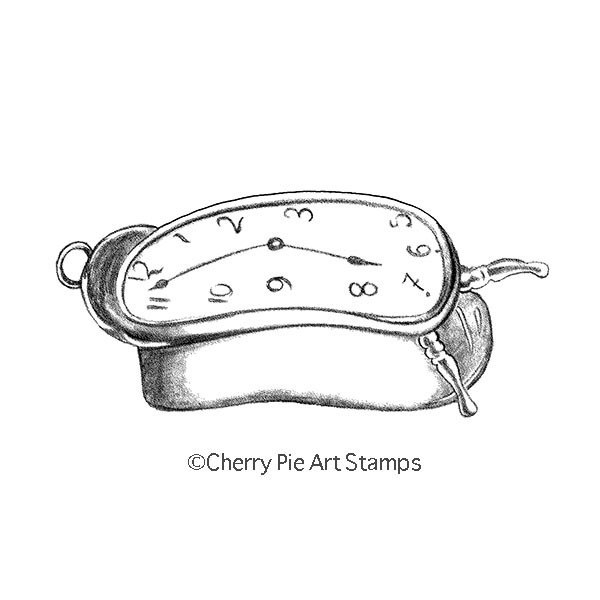 Melting alarm clock -  CLING RuBBer STAMP  by Cherry Pie Q453