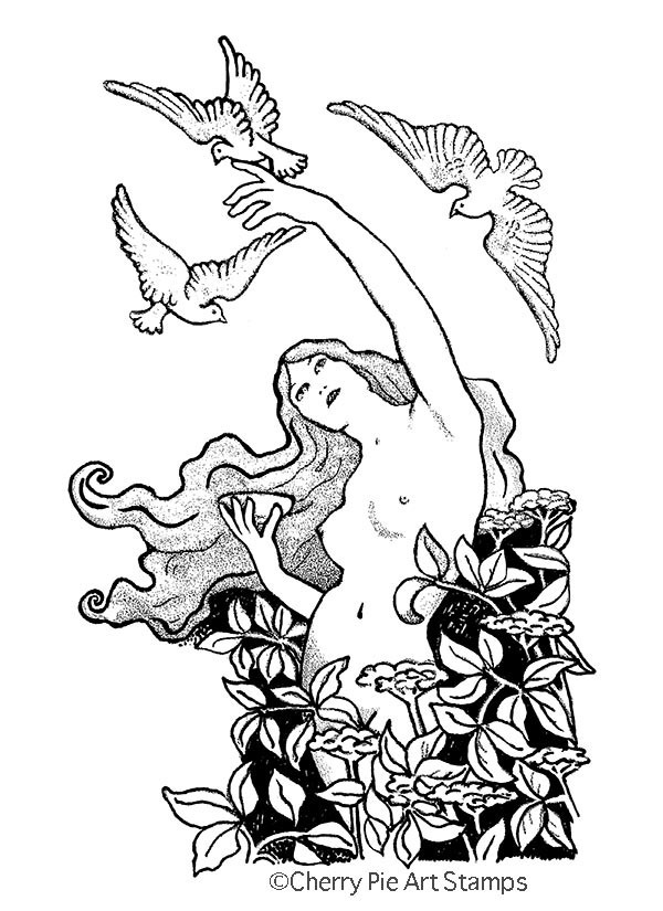 Art nouveau Nature goddess- CLING RuBBer STAMP by Cherry Pie Art Stamps S572