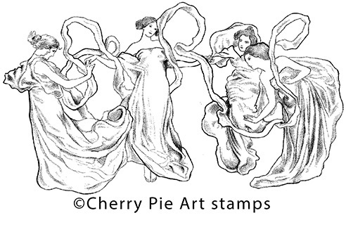 Goddess dance- CLING RuBBer STAMP by Cherry Pie Art Stamps R545