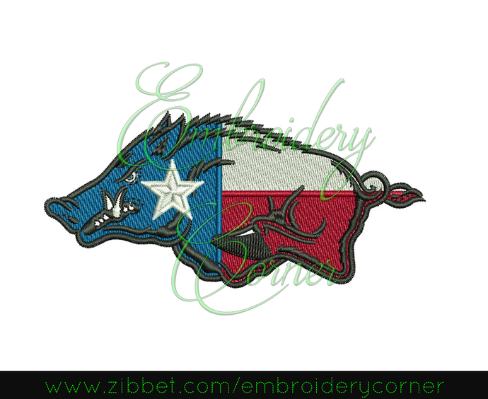 Football texas team Machine Embroidery Design (razorback) 4x4 - Instant Download