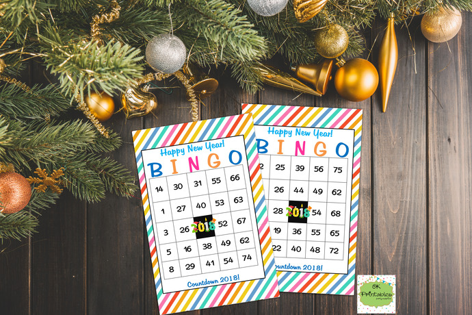 30 Happy New Year Countdown 2018 Bingo cards - Printable Game New year eve party